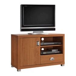 """Techni Mobili - Techni Mobili 40 Inch TV Cabinet in Maple - 40 Inch TV Cabinet in Maple by Techni Mobli This contemporary Techni Mobili TV cabinet, for TVs up to 40"""", is designed to fit any bedroom or family room. It includes one door with storage space and one drawer for accessory storage. The Techni Mobili TV cabinet is made of compressed wood that is resistant to scratches. The TV stand with drawer also features two shelves to help store your electronics. The drawer in this 40-inch TV stand will allow you to organize your DVDs and CDs or store audio and gaming accessories.  TV Stand (1)"""