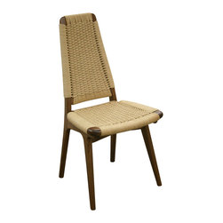 Rian Chair, White Oak - Solid hardwood construction with woven Danish Cord seat deck and back.  A delicate balance of timber and Danish cord making it one of the most unique dining chairs you will ever see.