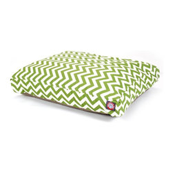 MAJESTIC PET PRODUCTS - Chevron Rectangle Pet Bed - This stylish rectangular pet bed looks great in any room of your house and is filled with ultra-plush fiberfill for luxurious napping. The removable zippered slipcover is made from outdoor-treated, UV-protected polyester for durability, and the base is made from heavy-duty waterproof 300/600 denier fabric that can go inside or out. Spot clean the slipcover and hang dry. Comes in a variety of colors and patterns, so you can pick the one that complements your decor.