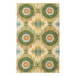 """Surya - Surya Storm SOM-7710 (Light Green, Green) 8' x 10'6"""" Rug - A warm summer storm is what comes to mind when describing the rugs in Surya's Storm collection. Featuring nature inspired patterns; the vivid colors in these rugs make the designs really pop. They are hand hooked with 100% polypropylene making them great for high traffic areas and even outdoors."""