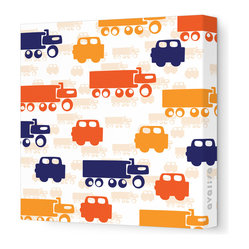 "Avalisa - Things That Go - Traffic Stretched Wall Art, 12"" x 12"", Orange -"
