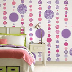 Home Decorators Collection - Gone Dotty Wall Art - Solids, florals, animal prints and polka dots combine in shades of pink, green or purple hues to create a fun and whimsical look. Our round wall decals come in different sizes from small to large. Go all out with girly decorations, and add our peel-and-stick wall decals to your child's room. Includes 168 pieces on 16 sheets. Easy to apply, and safe for your walls. Not difficult to remove - simply peel off the wall. Choose pink and green or pink and purple design.