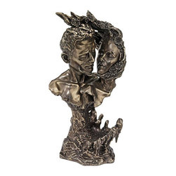 EttansPalace - Passionate Lovers Faux Bronze Art Deco Statue Sculpture Figurine - Like the whisper of a dream, this sculpture is the vision of true love that emerges to steal the hearts of those who recognize its wistful longing. An amazingly detailed statue from her flower-strewn tresses to his strong jaw, our quality designer resin figurine is finished for your gallery in faux bronze that highlights every detail.