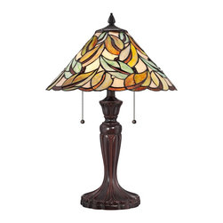 "Quoizel - Tiffany Quoizel Gardner Tiffany Style Table Lamp - This Tiffany style table lamp features a stunning leaf pattern round shade made from individual pieces of stained glass and enhanced with 24 glimmering jewels. A stylized Espresso Bronze finish metal base enhances the authenticity of this iconic home accent. Two lights are controlled by dual pull chains. This elegant Quoizel lamp will warm your home with its enduring glow. Jeweled art glass table lamp. Espresso Bronze finish. Metal construction. Multicolor art glass shade. Shade constructed of 186 pieces of stained glass. Shade enhanced with 24 glistening jewels. Two max 75 watt bulbs (not included). 23"" high. Shade is 16"" wide.   Jeweled art glass table lamp.  Espresso Bronze finish.  Metal construction.  Multicolor art glass shade.  Shade constructed of 186 pieces of stained glass.  Shade enhanced with 24 glistening jewels.  Two max 75 watt bulbs (not included).  23"" high.  Shade is 16"" wide."