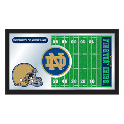 "Holland Bar Stool - Holland Bar Stool Notre Dame Football Mirror - Notre Dame Football Mirror belongs to College Collection by Holland Bar Stool The perfect way to show your school pride, our Football Mirror displays your school's symbols with a style that fits any setting.  With it's simple but elegant design, colors burst through the 1/8"" thick glass and are highlighted by the mirrored accents.  Framed with a black, 1 1/4 wrapped wood frame with saw tooth hangers, this 15""(H) x 26""(W) mirror is ideal for your office, garage, or any room of the house.  Whether purchasing as a gift for a recent grad, sports superfan, or for yourself, you can take satisfaction knowing you're buying a mirror that is proudly Made in the USA by Holland Bar Stool Company, Holland, MI.   Mirror (1)"