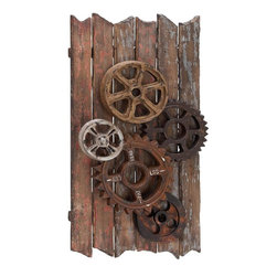 Home Decorators Collection - Wood Gear Wall Decor - Our Wood Gear Wall Decor is industrial, rustic and unique all at the same time. The grand size ensures that your walls are always visually interesting. Rustic, multi-color gears on a wood background. Industrial look suits many decor styles.