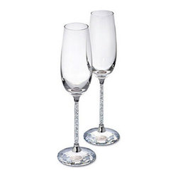 "Swarovski - Swarovski Crystalline Toasting Flutes (Set) - Swarovski Crystalline Toasting Flutes (Set)  -  Size: 2.75"" x 10  -  Fine Silver Crystal  -  Made In Austria  -  Delicate, elegant and very festive, this is a set of two flutes for very special occasions. The clear crystal that fills the stems and the faceted clear crystal base of each of these adds an element of romance to any evening - making it a touch more special."