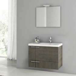 ACF - 31 Inch Grey Oak Bathroom Vanity Set - Set Includes:. Vanity Cabinet (2 Doors,1 Drawer). High-end fitted ceramic sink. Wall mounted vanity mirror. Vanity Set Features . Vanity cabinet made of engineered wood. Cabinet features waterproof panels. Vanity cabinet in grey oak finish. Cabinet features 2 doors, 1 soft-closing drawer. Faucet not included. Perfect for modern bathrooms. Made and designed in Italy. Includes manufacturer 5 year warranty.