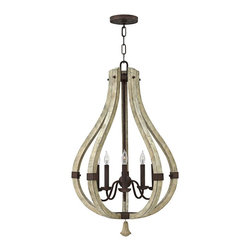 """Fredrick Ramond - Transitional Fredrick Ramond Middlefield 20"""" Wide Rustic Chandelier - The sculptural look of this delightful 5-light chandelier is perfect for a home entryway stairway kitchen or dining room. A dimensional openwork gourd shape frame constructed of distressed finish wood contrasts boldly with the dark iron rust finish metal curved arms bobeche and candle slips displayed inside the frame. A distressed wood bottom finial adds a delightful finishing touch. Includes a round canopy and matching chain to allow an adjustable hang height. A beautiful transitional style home lighting accent from Fredrick Ramond. Decorative transitional style 5-light chandelier. Iron rust finish arms and candle slips. Distressed wood open gourd center display and finial. Iron metal construction frame. Five max 60 watt candelabra bulbs (not included). 20"""" wide. 32"""" high. Round canopy and matching 10' chain. Includes 12' lead wire. Hang weight 20 lbs.  Decorative transitional style 5-light chandelier.  Iron rust finish arms and candle slips.  Distressed wood open gourd center display and finial.  Iron metal construction frame.  Five max 60 watt candelabra bulbs (not included).  20"""" wide.  32"""" high.  Round canopy and matching 10' chain.  Includes 12' lead wire.  Hang weight 20 lbs."""