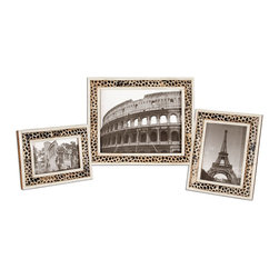 "Uttermost - Carnelia Modern Photo Frames, Set of 3 - These Frames Are Made Of Pieced Bone And Horn With A Burned Giraffe Pattern. Holds Photo Sizes: 4x6, 5x7 & 8x10. Frame Sizes: Sm-7x9, Med-8x10, Lg-11x13.; Collection: Carnelia; Material: Bone Chips & Horn & Wood & Glass; Finish: Pieced Bone And Horn With A Burned Giraffe Pattern.; Dimensions: 1.125""D x 10.5""W x 12.5""H; Uttermost's Photo Frames Combine Premium Quality Materials With Unique High-style Design.; With The Advanced Product Engineering And Packaging Reinforcement, Uttermost Maintains Some Of The Lowest Damage Rates In The Industry. Each Product Is Designed, Manufacturered And Packaged With Shipping In Mind."