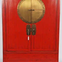 Chinese Antique Wedding Cabinet with Brass Zodiac Medallion - Chinese Antique Wedding Cabinet with Brass Zodiac Medallion