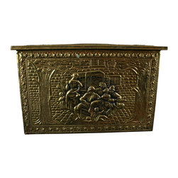 EuroLux Home - Consigned Vintage English Brass Timber Box Outdoor Pub - Product Details