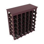 36 Bottle Kitchen Wine Rack in Pine with Burgundy Stain + Satin Finish - A small wine rack with big storage. This wine rack kit is the best choice for converting tiny spaces into big wine storage. The solid wood top excels as a table for wine accessories, small plants, and wine collectables. Store 3 cases of wine properly in a space smaller than most entry tables!