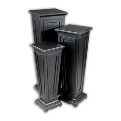 Uttermost - Keir Black Plant Stands, Set of 3 - Put your plants up on a pedestal! This handsome trio of tapered columns has raised wood and molding details, ready to dress up your dining room, sunroom or outdoor patio. In a matte black finish and graduated heights, they'll take a stylish stand in contemporary or traditional settings.