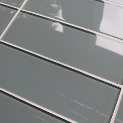 "Rocky Point Tile - 3"" x 6"" Sample - Chimney Smoke 4"" x 12"" Glass Subway Tiles - 3"" x 6"" color swatch of Chimney Smoke 4"" x 12"" glass subway tiles. A nice mid gray with a subtle hint of blue. If you're looking for a cool neutral tile our Chimney Smoke glass subway tiles might be the answer! These tiles come loose packed giving you the option to arrange them in the pattern of your choice. Each tile is back painted and has a high gloss finish."