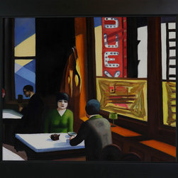 "overstockArt.com - Hopper - Chop Suey - 20"" X 24"" Oil Painting On Canvas Chop Suey is a remarkable oil painting with exceptional use of color, detail and brush strokes. First created in 1929 this painting pays close attention to the effects of light on a pair dining. This treatment has become well known in Hopper's work. Hopper received many honors in his lifetime for his exceptional use of color, detail, and subject matter. His classic works capture the authenticity of urban and rural American life with emotions and beauty that have placed them among the lasting and popular images of the American 20th century landscape. Make this painting a part of your home collection."