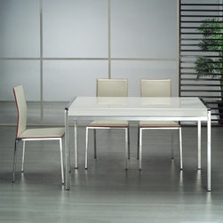 Tavolo Desk-Dining Table - The Tavolo Desk-Dining Table has sleek, modern style and a generous top ideal for use a dining table or writing desk. This table features a polished chromed frame and wood veneer top with a high gloss white finish. It seats six in style. About Whiteline:With a product line that includes prime leather sofas, comfortable beds, and elegant dining room furniture, Whiteline delivers modern and contemporary styles along with cozy comfort. Whiteline has 15 years of experience building furniture, along with a worldwide network of skilled manufacturers to help them give you the best value for your money. And their huge collection of designs is sure to have something to suit your contemporary tastes.
