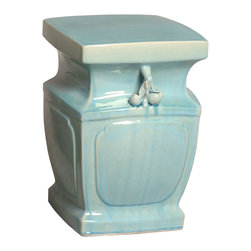 Kathy Kuo Home - Double Peach Light Blue Coastal Beach Asian Inspired Garden Stool Seat - Traditionally used in China as tea tables-these garden stools make a perfect addition to your living space as side tables, or clustered together to be used as a coffee table. Glazes are triple fired for added luster and shine. With a hand made product, glaze variations of up to 10% is to be expected.