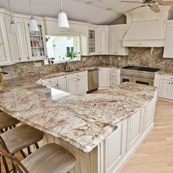 kichens crema bordeaux - Crema  Bordeaux granite countertop with full granite backsplash