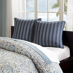 Echo - Echo Kamala Euro Sham - Add sophisticated style to your home with the Echo Kamala bedding collection. The Euro Sham features striped embroidery and is made from cotton faux linen. Body: 100% cotton faux linen with stripe embroidery