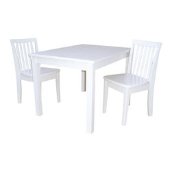 International Concepts - International Concepts 3 Piece Mission Table Set in Linen White - International Concepts - Kids' Table and Chair Sets - K0825322632 - This mission style table and chair set from International Concepts will make the perfect activity center for your young ones. It is composed of durable solid wood, and includes one table and two chairs.