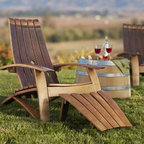 """Viva Terra - Wine Barrel Adirondack Footstool - Our chair's staves curve where you do to form a supremely comfortable seat.  Made form reclaimed white oak and galvanized metalwork.  Simple assembly required.  CHAIR APPROX 30""""W x 36"""" D x 36""""H, FOOTSTOOL 18""""W x 22""""D x 14""""H"""