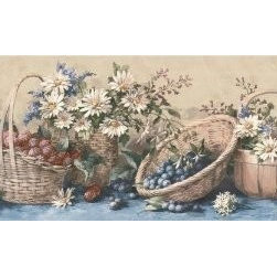 York Wallcoverings - Light Brown Fruit Baskets Wallpaper Border - Wallpaper borders bring color, character and detail to a room with exciting new look for your walls - easier and quicker then ever.