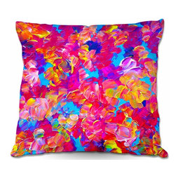 DiaNoche Designs - Pillow Woven Poplin by Julia Di Sano - Fantasy Floral - Toss this decorative pillow on any bed, sofa or chair, and add personality to your chic and stylish decor. Lay your head against your new art and relax! Made of woven Poly-Poplin.  Includes a cushy supportive pillow insert, zipped inside. Dye Sublimation printing adheres the ink to the material for long life and durability. Double Sided Print, Machine Washable, Product may vary slightly from image.