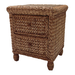 Wicker Paradise - Miramar Collection Sea Grass 2-Drawer Nightstand - Our 2 Drawer nightstand is a terrific accent to your room, adding a tropical flair. The drawers glide easily and offer spacious storage for a book, glasses or other accessories. Pair with other items from the Miramar bedroom set to complete your ideal look.