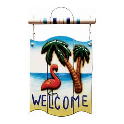RAM Gameroom - Flamingo Welcome Outdoor Sign - Featuring unique designs, top quality materials, hand crafted finishes, and just great fun. Resin outdoor sign. 1.5 in. L x 16.5 in. W x 24 in. HThe Ultimate Collection Of Fine Quality Lighting, Signs, Clocks, Wall Art, Fountains, Characters, Accessories, And Outdoor decor - For Your Home, GAMEROOM, Or Backyard.