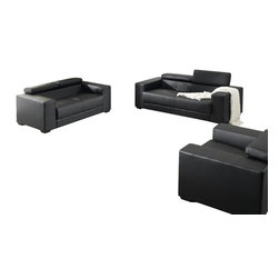 VIG Furniture - 2909 Black Bonded Leather Sofa Set With Adjustable Headrests - The 2909 sofa set will be a great addition for any modern themed living room decor. This sofa set comes upholstered in a beautiful black bonded leather. High density foam is placed within the cushions for added comfort. Only solid wood products were used when crafting the frames making this sofa set very durable. Each piece features adjustable headrests for that extra touch of relaxation. The sofa set includes one sofa, loveseat, and chair only.