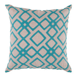Surya Rugs - 22-Inch Square Blue Jay and Peach Cream Patterned Linen Pillow Cover with Down I - - 22 x 22 100% Linen Pillow Cover w/ Down Insert.   - For more than 35 years Surya has been synonymous with high quality innovation and luxury.   - Our designers have masterfully created some of the most cutting edge and versatile pieces to bring out the best in every room.   - Encompassing their expert understanding of the latest trends in fashion and interior design each product is a perfect combination of color pattern and texture to accommodate the widest range of tastes.   - With Surya the best in design and quality is at your fingertips.   - Pantone: Blue Jay Peach Cream.   - Made in India.   - Care Instructions: Spot Clean.   - Cover Material: 100% Linen.   - Fill Material: Down. Surya Rugs - COM013-2222D