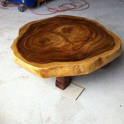 Reclaimed Acacia Wood Round Solid Slab Coffee Table By Flowbkk - Description:
