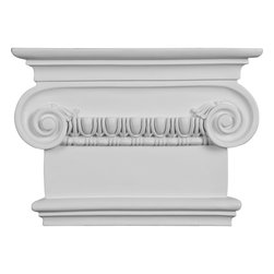 """Ekena Millwork - 7 1/2""""W x 8 5/8""""H x 2 1/2""""P Artis Onlay Capital - 7 1/2""""W x 8 5/8""""H x 2 1/2""""P Artis Onlay Capital. Our appliques and onlays are the perfect accent pieces to cabinetry, furniture, fireplace mantels, ceilings, and more. Each pattern is carefully crafted after traditional and historical designs. Each polyurethane piece is easily installed, just like wood pieces, with simple glues and finish nails. Another benefit of polyurethane is it will not rot or crack, and is impervious to insect manifestations. It comes to you factory primed and ready for your paint, faux finish, gel stain, marbleizing and more."""