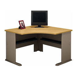 Bush Business - Corner Desk in Light Oak - Series A - Maximize space with this practical, and distinct, Corner Desk featuring a Light Oak desktop.  You can complete this unique unit by adding an articulating keyboard shelf, a pencil drawer, and or a top hutch to organize all your supplies and papers.  Whether you are choosing a piece to optimize the use of a cubicle space or home office, this oak corner computer desk is carefully designed in a stylish diamond cut, so you can savor its generous spacing and storage features.  Enjoy its scratch resistant and inconspicuous wire storage elements for years to come. * Maximize space with this practical, and distinct, Corner Desk featuring a Light Oak desktop. You can complete this unique unit by adding an articulating keyboard shelf, a pencil drawer, and or a top hutch to organize all your supplies and papers. 47.165 in. W x 47.165 in. D x 29.764 in. H
