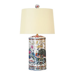 "Lamps Plus - Asian Japanese Garden Floral Porcelain Table Lamp - This beautiful table lamp features a colorful floral print reminiscent of a Japanese garden on a porcelain cylinder base. An off-white cotton shade softens the glow of the bulb while providing a sleek focal point. A delightful accent lamp to instantly add botanical appeal to your decor! Porcelain table lamp. Japanese garden design. Off-white cotton shade. Rotary switch. Takes one 100 watt 3-way bulb (not included). 27"" high. Shade is 9"" x 14"" across the top 12"" x 16"" across the bottom 11"" on the slant. Base footprint is 7 1/2"" wide 5 1/2"" deep.  Porcelain table lamp.  Japanese garden design.  Off-white cotton shade.  Rotary switch.  Takes one 100 watt 3-way bulb (not included).  27"" high.  Shade is 9"" x 14"" across the top 12"" x 16"" across the bottom 11"" on the slant.  Base footprint is 7 1/2"" wide 5 1/2"" deep."