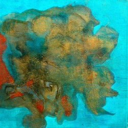 Floating In A Sea Of Teal I (Original) By Ty Rose - Teal, blues, gold, earth tone and a touch of orange transport you to the warm waters of the tropics.  One of a series of three canvases.  Signed on verso.
