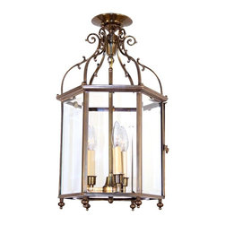 Antique Lighting 1940 Georgian Revival Lantern - Antique Ceiling Fixture Circa 1940, Three Light, Six-sided Georgian Close Mount Lantern With Beveled Glass And Scroll Details. Antique Brass Finish - QTY 4 AVAILABLE