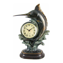 Antiqued Bronze Finish Marlin Mantel Clock Fish - This 12 inch tall jumping marlin desk clock is a perfect gift for deep sea fishing lovers. The clock has an antiqued bronze finish that gives it the look of metal, and is handpainted with copper and verdigris paints to give it dome contrast and depth. It has a quartz movement, and runs on a single AA battery (not included). The clock face is 2 3/4 inches in diameter, with a goldtone frame, black markers and hands, and a tan face. Made of cold cast resin, this clock measures 12 inches tall, 7 1/2 inches wide, and 4 inches deep.