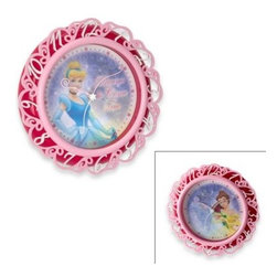 Disney - Disney Princess Lenticular Wall Clock - Wall clock with quartz accuracy features a lenticular dial with Cinderella in one scene and Beauty and the Beast's Belle in the other. A sculpted frame, custom shaped hands and glass lens give it just the right amount of magical appeal.