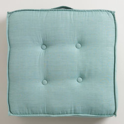 Chinois Aqua Khadi Tufted Floor Cushion - Keep these adorable floor cushions stacked in a corner when not in use, then pull them out when you have company. Small spaces rarely are big enough for extra chairs, so it's nice to have flexible seating that won't take up much space when not in use.