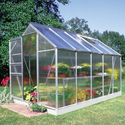 Halls Magnum 8 x 10-Foot Greenhouse Kit - Additional Features Double doors make it easy to bring in larger items Superb twin wall has double the heat retention of glass Diffuses the light to prevent your plants being burned Lightweight and virtually unbreakable 4mm thick double-walled panels Includes aluminum or plastic strips to attach to the ends Strips prevent objects getting stuck between the layers UV resistant coating protects your plants Greenhouse kit includes a steel base Door measures 48W x 71H inches Sidewall measures 4.5 feet Peak height measures 8 feet Measures 8W x 10L x 8H feet You'll love having the ability to have fresh flowers green plants and home-grown vegetables at anytime with the Halls Magnum 8 x 10 Greenhouse Kit. Made with all the best features available in a quality greenhouse you'll spend hours in quiet relaxation as you care for your plants. The Halls Magnum Greenhouse features cast joints and additional struts at the eaves and ridge to give this greenhouse extra strength. An additional six inches was added to the ridge and eaves to not only increase headroom but also to make room for hanging plants. To make sure your plants are protected and won't burn this greenhouse is made with strong and durable polycarbonate glazing to diffuse the light and has a UV resistant coating. The superb 4mm thick doubled-panel twin walls have twice the heat retention of glass and include aluminum or plastic strips to prevent foreign objects from getting stuck in between the panes. The greenhouse has four roof vents for increased circulation and double doors that make it easy to bring in a wheelbarrow or wheelchair. The perfect greenhouse for even the most fastidious of gardeners the greenhouse kit comes complete with a base which adds five inches to the overall height of your greenhouse. Assembly is a weekend project for one or two people. About The Greenhouse Connection LLCThe Greenhouse Connections was established in 1993 to connect gardeners who are looking for a well-made traditional English greenhouse with Halls Garden Products Ltd. of England the world's leading manufacturer of hobby greenhouses. By networking with a variety of people and companies including independent garden centers nurseries mail-order garden and seed catalogs and greenhouse supply companies The Greenhouse Connection does just that. Their offices are located in Grant Pass OR.