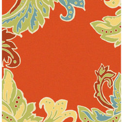 Trans Ocean Import - Ravella Ornamental Leaf Border Orange Rectangular 5 Ft. x 8 Ft. Rug - - Indoor-Outdoor rug.  - Is UV treated to resist fading.  - Impervious to weather conditions.  - Is stain resistant with synthetic fibers.  - Hand made in China.  -  Transitional Ornamental Leaf  design in updated colors  - Vacuum regularly.  - Sponge spots clean.  - To clean full rug, gently rinse with a solution of mild detergent and water, hose rug clean with garden hose, allow to dry in the sun Trans Ocean Import - RVL57194717