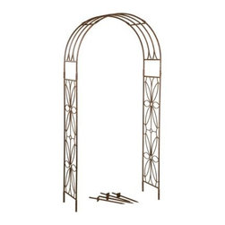 Deer Park Ironworks Stained Glass Arbor - Create a garden that is reminiscent of years past with the gorgeous Deer Park Ironworks Stained Glass Arbor. With a delicate and beautiful floral motif, this garden arbor is the perfect entryway into your yard or garden, beckoning your guests to come and explore. Made from durable, heavy gauge metal with a protected, baked-on, powder-coated finish. Its natural patina is a beautiful complement to any decor or color scheme, making it a beautiful addition to your home.About Deer Park Ironworks, LLCYou'll immediately recognize a yard that's been appointed with pieces from Deer Park, thanks to the classic wrought iron designs and traditional finish that has made them an power player in the outdoor furniture industry. Dedicated to creating value for their customers with durable, quality pieces of functional and ornamental wrought iron, Deer Park continues to provide timeless designs while never sacrificing customer service and satisfaction as their pursue their corporate goals.