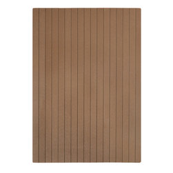 """Anji Rugs - 35"""" x 48"""" Natural Composite Chairmat, No Lip - Chestnut - Our Natural Composite Chairmat is an exciting innovation for your office space that brings modern styling and superior durability. Similar in design to popular outdoor composite decking this chairmat distinguishes itself by using recycled bamboo and HDPE from recycled plastic bottles. The textured, matte surface is resilient and provides a smooth rolling surface. This chairmat will make a positive impact on the environment as well as your friends and family.; Designed for Commercial carpet (up to 1/4"""" thick, no carpet pad) and hard floors; 5mm thick; 2"""" wide slats; Felt backing with non-slip gripper dots keeps mat in place; Rounded edges for easy access on and off the mat; Folds up for easy shipping and portability; Made with 60% bamboo fiber, 30% recycled HDPE and 10% stabilizers and colorants; Meets stringent European E1 standard for formaldehyde emissions; Hard floor casters are recommended for optimum performance; Weight: 18 lbs; Dimensions: 35"""" x 48"""""""