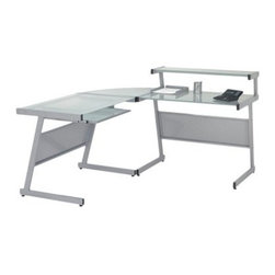 Euro Style Landon L-Desk Glass Corner Computer Desk - Aluminum - Give yourself plenty of room to work, while enhancing your home office decor, with the Landon L-Desk Glass Corner Computer Desk - Aluminum. This sleek, modern computer desk has a rugged steel frame with an aluminum finish and perforated metal modesty panels. The desktop is made from tempered, frosted glass, and a keyboard tray and small, raised shelf are included. Adjustable feet ensure perfect installation, even on uneven floors. This desk comes with detailed assembly instructions.About Euro StyleEuro Style is more than a brand name. It's a complete design approach for furnishing the living room, dining room, kitchen, and office. Most Euro Style furniture can be assembled in under fifteen minutes. Some can be assembled in under five minutes. Assembly instructions and the few tools you might need come inside the carton. Today, there are hundreds of Euro Style products, with new ones arriving every month. You'll discover Euro Style offers the right design at the right price.