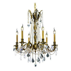 """PWG Lighting / Lighting By Pecaso - Reynard 6-Light 23"""" Crystal Chandelier 7826D23AB-RC - Elegant lighting for gracious living, Reynard Crystal Chandeliers are a lustrous departure in crystal design. Beginning with the solid brass sculptured and finely detailed frame, this series may be dressed in a choice of extraordinarily clear or colored crystal prisms."""
