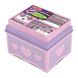 Melissa & Doug Jewelry Box - From Melissa and Doug comes this DIY version of a wood jewelry box. Kids will love getting involved in the creation process. They can customize the look by using craft and glitter glue, sparkling gems and glitter stickers — all included. The latching chest features a velvet-lined interior base and a safety mirror inside the lid.