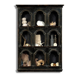 "Sarreid Ltd - Curiosity Cabinet by BSEID - Create a theme, gather your items and have fun creating a space of visual interest. The black distressed Chilean pine cabinet, featuring nine arched entrances, attractively frames each opening only adding to the optic impact. (SAR) 23"" wide x 4"" deep x 35"" high"