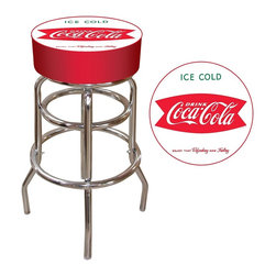 "Trademark Global - ""Ice Cold Coca-Cola"" Design Pub Stool - Chrome plated double rung base. Adjustable levelers. Commercial grade vinyl seat. Long lasting Officially Licensed Coca Cola Company Logo. Padded seat: 14.75 in. Dia. x 7.5 in. H. Bar stool height: 30 in. H. Overall dimensions: 30 in. L x 15 in. W x 15 in. H (17 lbs.)This Coca Cola Bar Stool will be the highlight of your bar and game room. Great for bar pub table and bars and great for gifts and recreation decor!"
